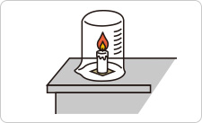 Place the candle in the candle holder and light it. Then place the beaker (upside down) over the candle and wait until the candle goes out.
