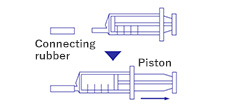 Attach the syringe inlet to the syringe (No.601 or No.611) and collect 20ml of sample into the syringe by pulling its piston.